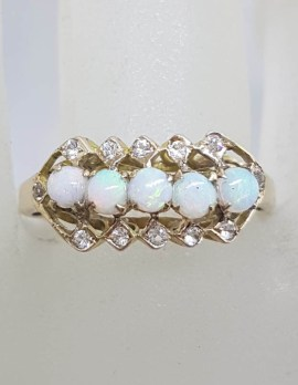 9ct Yellow Gold Solid Opal with Cubic Zirconia Ring - Antique / Vintage