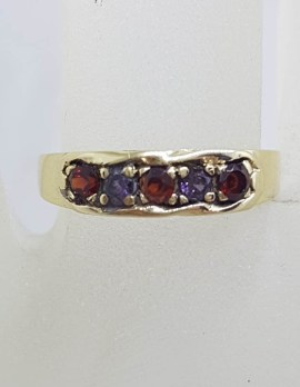 9ct Yellow Gold Garnet and Amethyst Flat Eternity Band Ring - Gypsy Ring Style