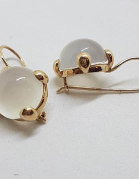 9ct Rose Gold Round Moonstone Drop Earrings