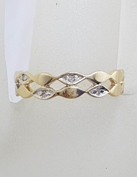 9ct Yellow Gold Marquis Design Flat Band With Diamonds Ring