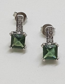 10ct White Gold Square Green with Diamond Stud Earrings