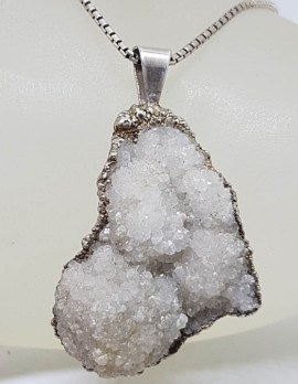 Sterling Silver Large Crystal Pendant on Silver Chain