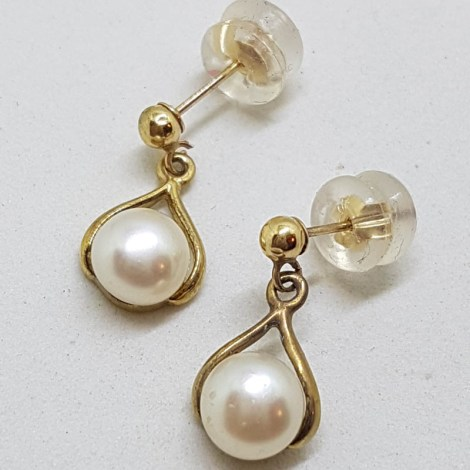 9ct Yellow Gold Pearl Drop Earrings