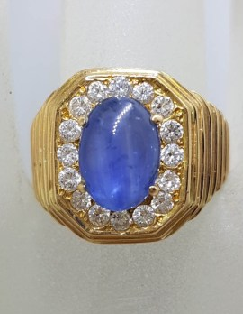 9ct Yellow Gold Very Large Octagonal Setting with Oval Cabochon Cut Natural Sapphire Surrounded by Diamond Cluster Gents Ring / Ladies Ring