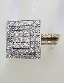 9ct Yellow Gold Large Square Diamond Cluster Ring