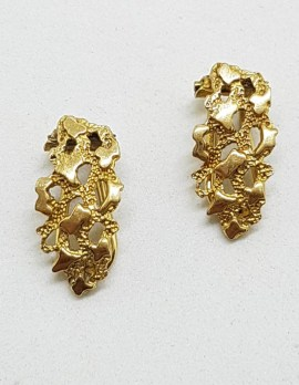 9ct Yellow Gold Patterned Clip-On Earrings - Antique / Vintage