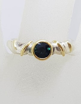 Sterling Silver Green Tourmaline Ring with 18ct Yellow Gold Bezel Setting and Twist