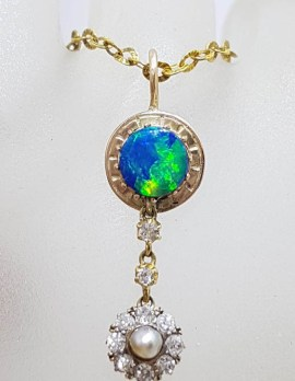 15ct Yellow Gold Round Opal with Seedpearl and Diamond Drop Pendant on 9ct Gold Chain - Antique / Vintage