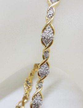 9ct Yellow Gold Diamond Marquis Shape Clusters Ornate Twist Bracelet