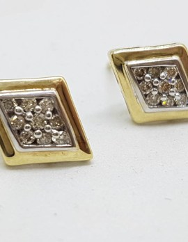 9ct Yellow Gold Diamond Marquis Shape Clusters Stud Earrings