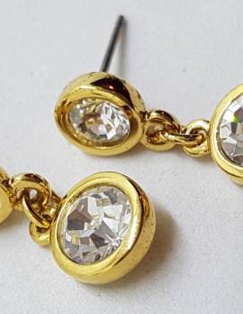 Plated Swarovski Crystal Long Round Drop Earrings - Swarovski