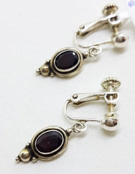 Sterling Silver Oval Garnet Clip-On / Screw-On Drop Earrings - Vintage