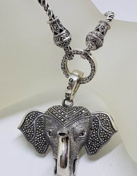 Sterling Silver Large Marcasite Elephant Enhancer Pendant on Thick and Long Silver Necklace/Chain