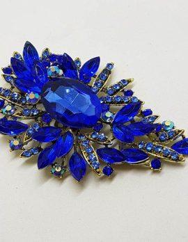 Very Large Blue Rhinestone Plated Cluster Brooch - Vintage Costume Jewellery