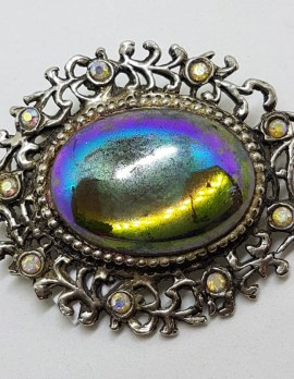 Oval Aurora Borealis Oval Cluster Brooch - Vintage Costume Jewellery