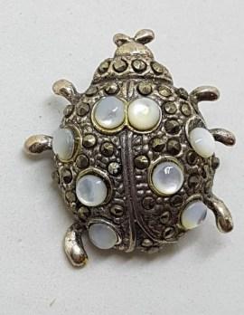 Sterling Silver Marcasite Ladybird / Ladybug Brooch