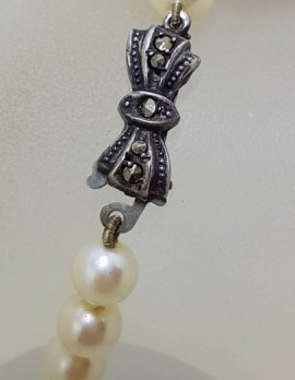 Sterling Silver Marcasite Bow Clasp on Pearl Strand Necklace / Chain - Vintage