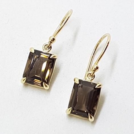 9ct Yellow Gold Rectangular Claw Set Smokey Quartz Drop Earrings