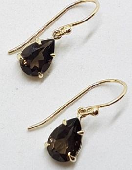 9ct Yellow Gold Teardrop / Pear Shape Claw Set Smokey Quartz Drop Earrings