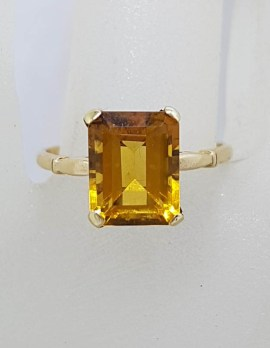 9ct Yellow Gold Rectangular Claw Set Citrine Ring - Vintage
