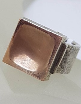 Sterling Silver Rose Tone Large Square Chunky Ring - Israeli Jewellery
