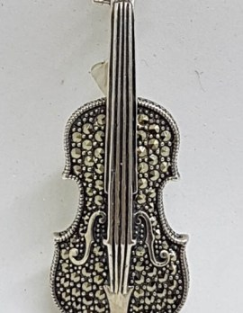 Sterling Silver and Marcasite Brooch / Pendant - Violin - Musical Theme