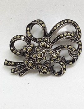 Sterling Silver Marcasite Floral Bow Brooch - Vintage