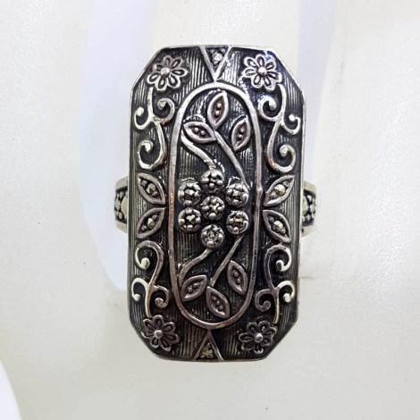 Sterling Silver Marcasite Long Rectangular Ornate Grey / Black Enamel Floral Design Ring