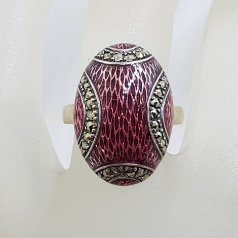 Sterling Silver Marcasite and Pink Enamel Oval Ring