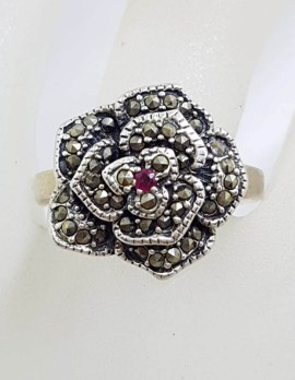 Sterling Silver Marcasite with Natural Ruby Rose Flower Ring