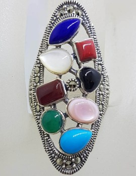 Sterling Silver Large Multi-Colour Gemstone Elongated Oval Marcasite Ring