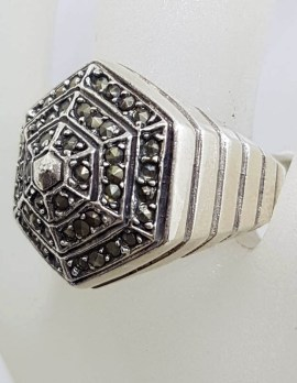 Sterling Silver Hexagonal Shape Large Marcasite Cluster Ring