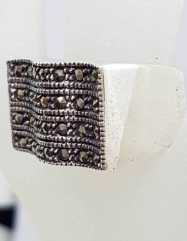 Sterling Silver Wide Wave Shape Marcasite Band Ring