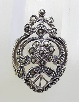 Sterling Silver Very Large Ornate Filigree Marcasite Ring
