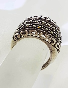 Sterling Silver Wide and Bulky with Ornate Design Domed Marcasite Ring