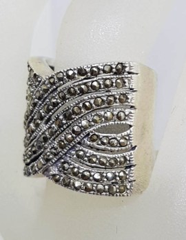 Sterling Silver Marcasite Wide and Heavy Thick Woven Twist Band Ring