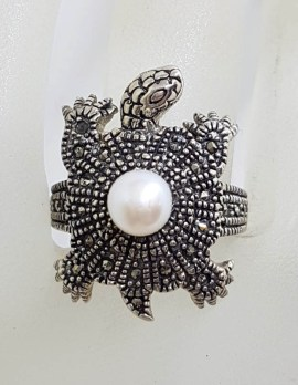 Sterling Silver Marcasite and Pearl Turtle / Tortoise Ring