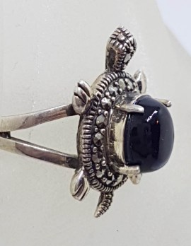 Sterling Silver Marcasite and Onyx Turtle / Tortoise Ring