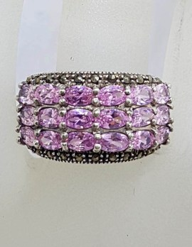 Sterling Silver Vintage Marcasite and Pink Cubic Zirconia Wide Cluster Ring