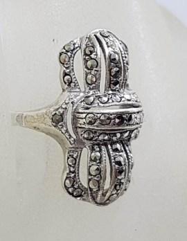 Sterling Silver Vintage Marcasite Elongated Art Deco Shape Ring