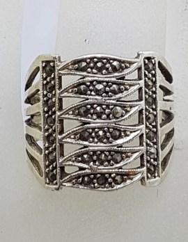 Sterling Silver Vintage Marcasite Wide Ring