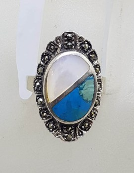 Sterling Silver Vintage Marcasite, Blue and Mother of Pearl Oval Ring