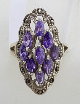 Sterling Silver Vintage Marcasite and Purple Marquis Cluster Ring