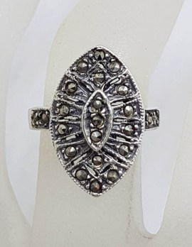 Sterling Silver Vintage Marcasite Marquis Shape Ring