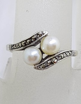 Sterling Silver Marcasite and Pearl Ring - Vintage / Antique