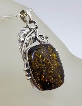 Sterling Silver Square Natural Green Baltic Amber with Gum Leaf Design Pendant on Silver Chain