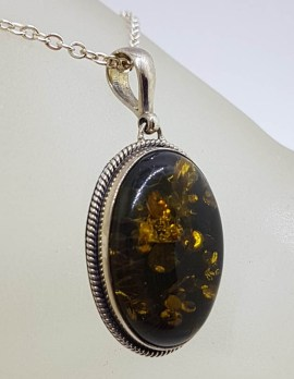 Sterling Silver Oval Natural Green Baltic Amber with Twist Rim Pendant on Silver Chain