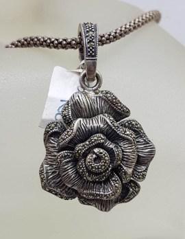 Sterling Silver Marcasite Large Rose Flower Enhancer Pendant on Sterling Silver Chain