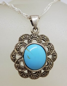 Sterling Silver Marcasite and Blue Ornate Oval Pendant on Silver Chain - Vintage