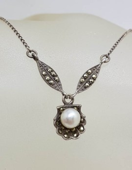 Sterling Silver Vintage Marcasite & Pearl Ornate Drop Collier Necklace / Chain